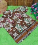 baju pesta kemeja batik bayi laki-laki cowok hem atasan anak baby 0-2th motif cokelat sulur A