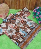 baju pesta kemeja batik bayi laki-laki cowok hem atasan anak baby 0-2th motif cokelat sulur B