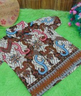 baju pesta kemeja batik bayi laki-laki cowok hem atasan anak baby 0-2th motif cokelat sulur C