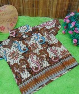baju pesta kemeja batik bayi laki-laki cowok hem atasan anak baby 0-2th motif cokelat sulur D