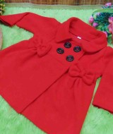 Jaket bayi mantel bayi fleece 0-18bulan hangat lembut Polos Merah