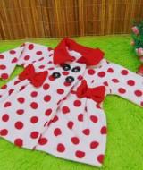 jaket bayi blazer baby mantel bayi newborn hangat lembut polka merah putih 0-18bulan (2)