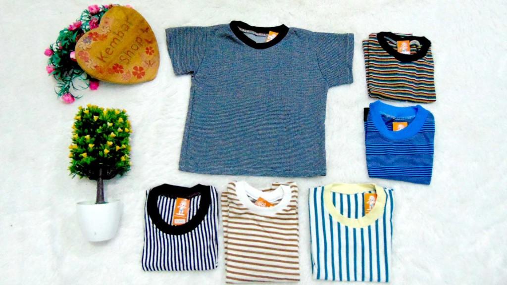 foto utama Kaos Salur bayi Tshirt Kaos Oblong Anak Kaos Harian Motif Salur Garis-Garis